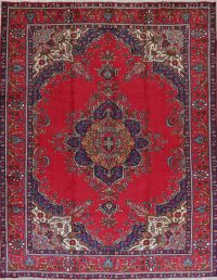 Red Geometric Tabriz Persian Hand-Knotted 10x13 Wool Area Rug