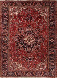 Red Geometric Heriz Persian Hand-Knotted 10x13 Wool Area Rug