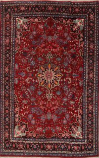 Floral Red Bidjar Persian Hand-Knotted 7x11 Wool Area Rug