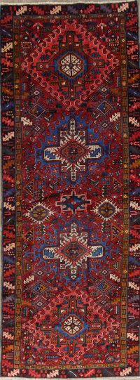 Tribal Gharajeh Persian Hand-Knotted 4x11 Wool Runner Rug