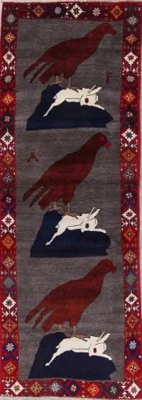 Animal Pictorial Gabbeh Persian Hand-Knotted 3x9 Wool Runner Rug