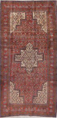 Geometric Red Bidjar Persian Hand-Knotted 4x9 Wool Runner Rug