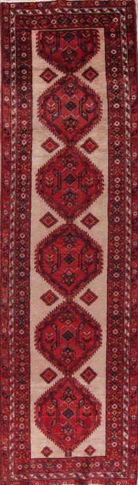 Geometric Ardebil Persian Hand-Knotted 3x13 Wool Runner Rug