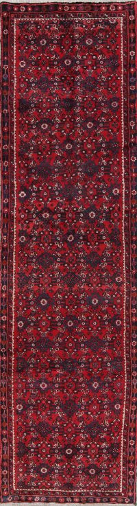 All-Over Hossainabad Persian Hand-Knotted 3x12 Wool Runner Rug