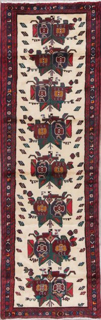 Geometric Gabbeh Persian Hand-Knotted 3x9 Wool Runner Rug