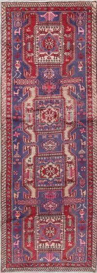 Tribal Geometric Meshkin Persian Hand-Knotted 3x10 Wool Runner Rug