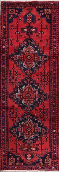 Geometric Hamedan Persian Hand-Knotted 4x10 Wool Runner Rug