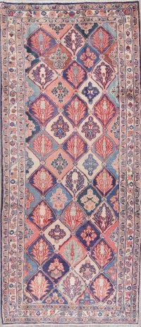 Geometric Bakhtiari Persian Hand-Knotted 4x10 Wool Runner Rug