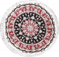 Geometric Tabriz Persian Hand-Knotted 4x4 Wool Silk Round Area Rug