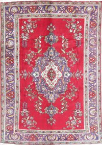 Floral Red Tabriz Persian Hand-Knotted 7x9 Wool Area Rug
