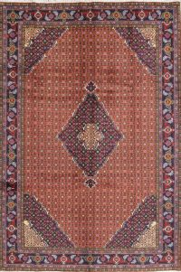 Geometric Rust Red Ardebil Persian Hand-Knotted 7x9 Wool Area Rug