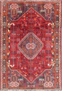Tribal Geometric Qashqai Persian Hand-Knotted 5x8 Wool Area Rug