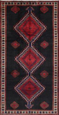 Geometric Bakhtiari Persian Hand-Knotted 5x10 Wool Runner Rug