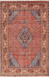 Geometric Red Ardebil Persian Hand-Knotted 6x10 Wool Area Rug