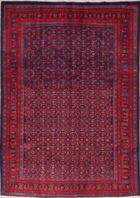 All-Over Geometric Sarouk Persian Hand-Knotted 7x9 Wool Area Rug