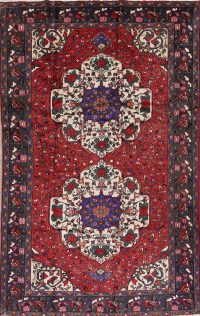 Geometric Red Bakhtiari Persian Hand-Knotted 6x10 Wool Area Rug