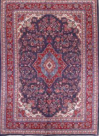 Floral Navy Blue Shahbaft Persian Hand-Knotted 7x10 Wool Area Rug