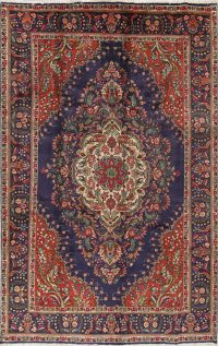 Traditional Floral Tabriz Persian Hand-Knotted 7x10 Wool Area Rug