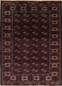 Geometric Balouch Persian Hand-Knotted 7x9 Wool Area Rug
