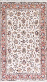 Floral Ivory Tabriz Persian Hand-Knotted 6x10 Wool Area Rug