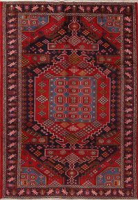 Geometric Bakhtiari Persian Hand-Knotted 7x10 Wool Area Rug