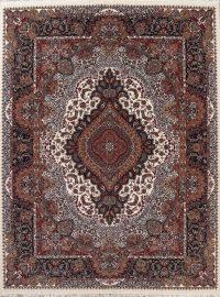 Geometric Ivory Tabriz Turkish Oriental 10x13 Acrylic Wool Area Rug