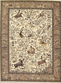 Hunting Design Tabriz Turkish Oriental 10x13 Area Rug