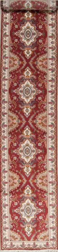 Fine Floral Tabriz Persian Hand-Knotted 3x16 Wool Silk Runner Rug