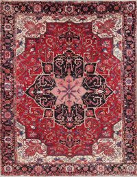 Geometric Red Heriz Serapi Persian Hand-Knotted 10x13 Wool Area Rug