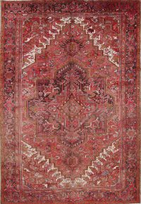 Geometric Red Heriz Persian Hand-Knotted 9x13 Wool Area Rug
