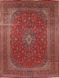 Traditional Floral Kashan Persian Hand-Knotted 9x13 Wool Area Rug