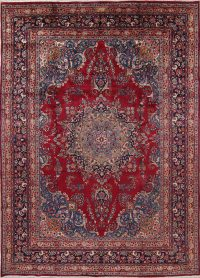 Floral Red Mashad Persian Hand-Knotted 8x11 Wool Area Rug
