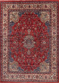 Floral Red Mahal Persian Hand-Knotted 9x13 Wool Area Rug