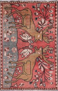 Animal Pictorial Hamedan Persian Hand-Knotted 2x3 Wool Rug
