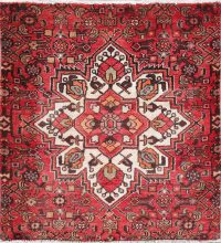 Geometric Red Hamedan Persian Hand-Knotted 3x3 Wool Square Rug