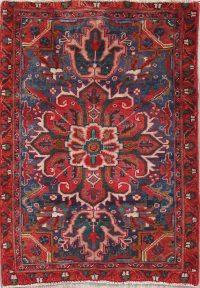 Navy Blue Geometric Heriz Persian Hand-Knotted 2x4 Wool Rug