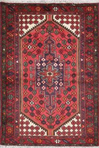 Geometric Red Hamedan Persian Hand-Knotted 3x5 Wool Rug
