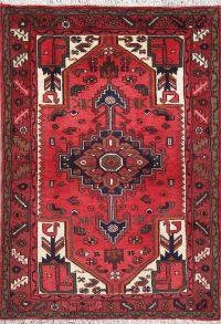 Red Geometric Hamedan Persian Hand-Knotted 3x5 Wool Rug