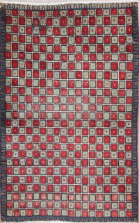 Checked Geometric Gabbeh Persian Hand-Knotted 2x4 Wool Rug