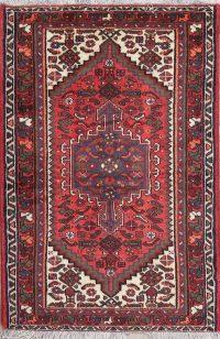 Tribal Geometric Hamedan Persian Hand-Knotted 3x5 Wool Rug