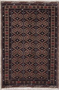 Brown Geometric Balouch Persian Hand-Knotted 3x4 Wool Rug
