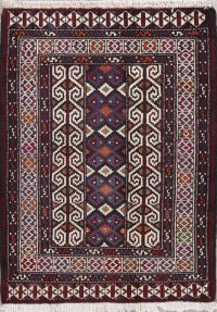 Geometric Balouch Persian Hand-Knotted 3x4 Wool Rug