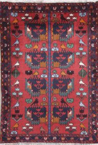Tribal Red Hamedan Persian Hand-Knotted 3x5 Wool Rug