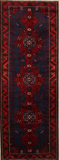 Geometric Navy Bakhtiari Persian Hand-Knotted 4x10 Wool Runner Rug
