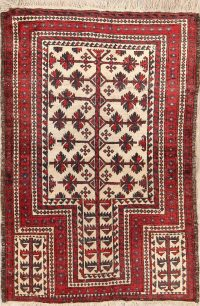 Antique Geometric Balouch Oriental Hand-Knotted 3x5 Wool Rug