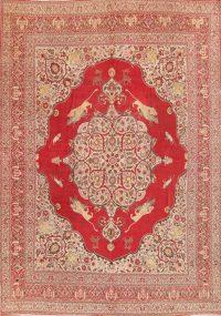 Antique Pre-1900 Hunting Design Museum Piece 11x14 Tabriz Haj Jalili Persian Rug
