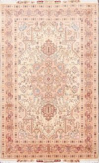 Geometric Wool/Silk Tabriz Persian Area Rug 4x6