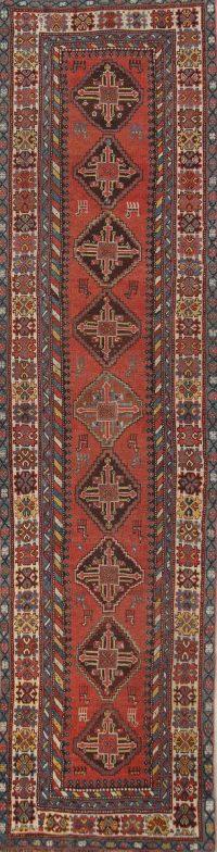 Geometric Kazak Oriental Runner Rug 3x13
