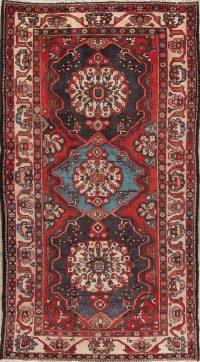 Geometric Red Bakhtiari Persian Hand-Knotted Runner Rug Wool 5x10