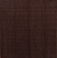 Modern Gabbeh Indian Oriental Hand-Knotted 8x8 Wool Square Rug